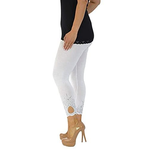 Julhold Polainas sólidas para las mujeres de cintura alta, entrenamiento de gimnasio, correr, yoga, pantalones de control de barriga, pantalones casuales de otoño, blanco, XL