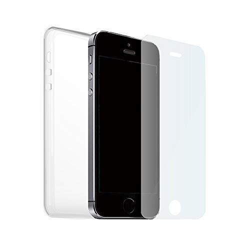 Funda + Cristal Templado iPHONE 5 5S 5SE Carcasa Silicona Transparente Y Vidrio, Cover De Gel Blando Con Protector De Pantalla, [Cristal Dureza 9H] [Funda TPU Transparentes] Para iPHONE 5 5S 5SE