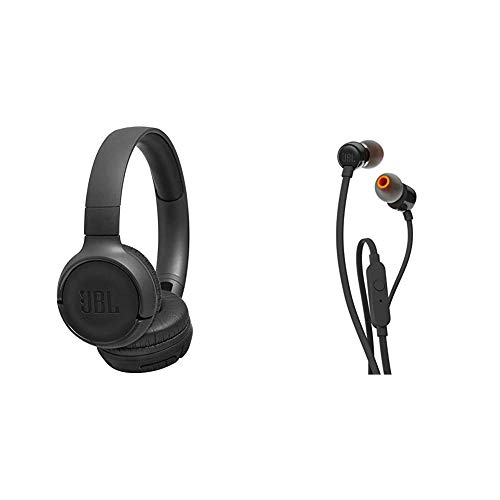 JBL Tune500BT - Auriculares supraaurales inalámbricos con Conexiones multipunto y Asistente de Voz + Tune 110 - Auriculares intraaurales Bluetooth con micrófono, Negro