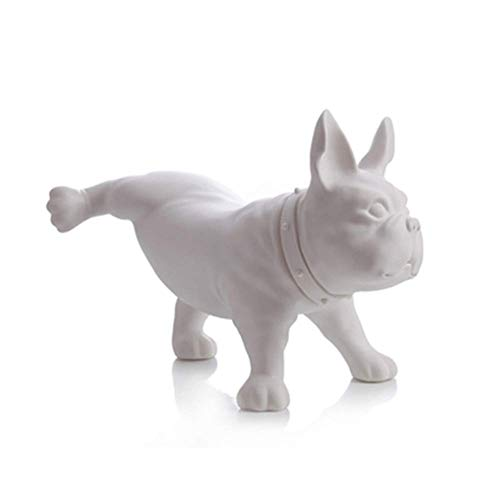 ZHUAN Animal Dog Sculpture French Bulldog Ornaments Simulation Dog Home Window Display Photography Props Modern Gardening Peeing Style (31.5 26 47cm),White