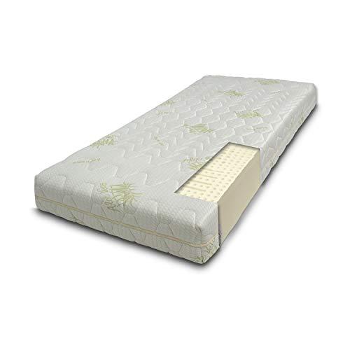 Sleepys Materasso Lattice 100% Singolo 85x200 Alto 18cm Naturale. Fresco e Molto Traspirante. Fodera in Aloe Vera, Fresca, Morbida e ANTIAGE.