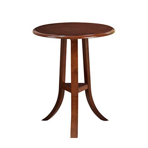 Couchtisch, rund, Antik-Gummi, Holz, Dekoration, Beistelltisch, Sofa, kleiner Couchtisch, geeignet für Wohnzimmer, Schlafzimmer, Nachttisch, Nussbaum, Größe: 50 x 60 cm