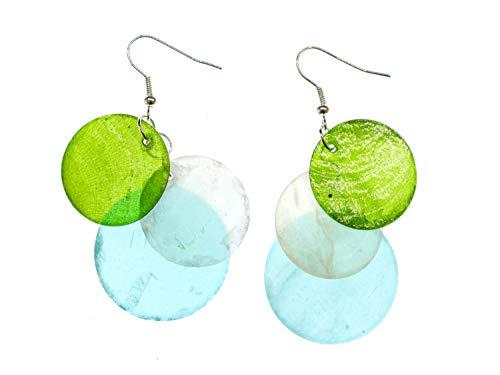 Miniblings Perlmutt Ohrringe Perlmuttscheiben Hippie Boho Blau Grün Weiß - Handmade Modeschmuck I Ohrhänger Ohrschmuck versilbert