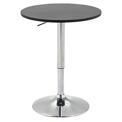 HOMCOM Mesa de Bar Regulable en Altura con Base Redonda y Antideslizante para Cocina Comedor Ø60x69-93 cm Negro