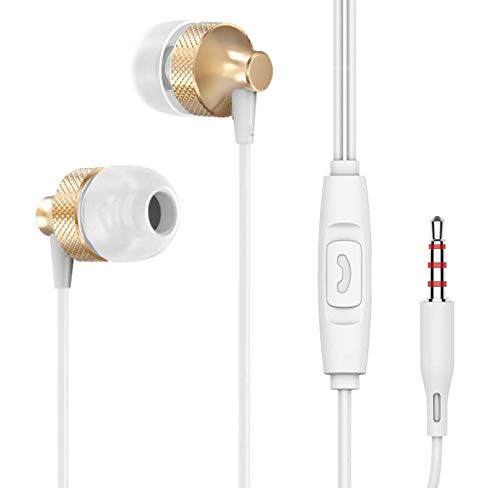 Merlin Scientific Wired Headphone Metal Earbuds by Amasing Noise Cancelling Stereo Heave Bass Earphones with Micphone Mic with Volume Control,in Ear Headphones (Gold)