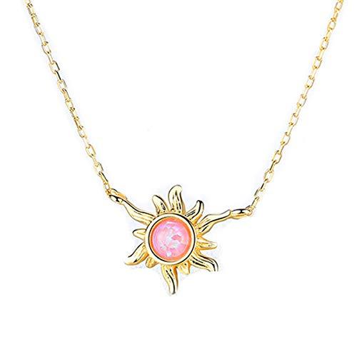 Beydodo Collar de Plata de Ley 925 para Mujer,Collar de Mujer Oro Flor Circonita Rosa