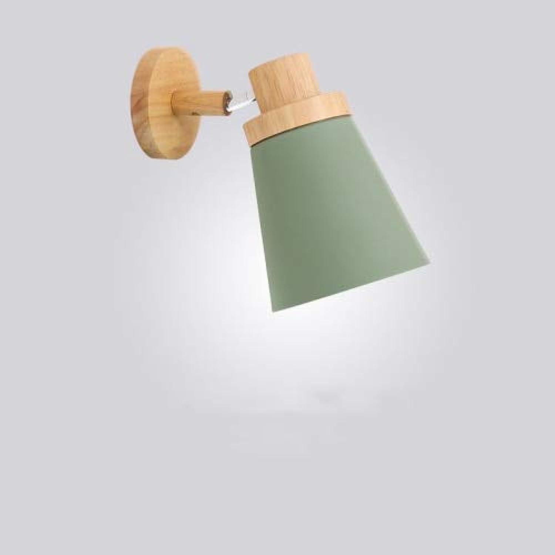 Macaron Farbe Wandlampe Schlafzimmer LED Nordic Nachttischlampe Holz Eisen Innenaufbauleuchte, B-Stil - grün