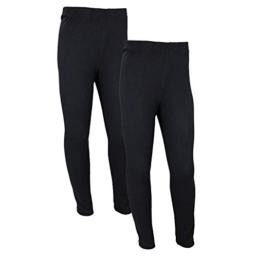 TupTam Mädchen Lange Leggings Unifarbe 2er Pack, Farbe: Schwarz, Größe: 134