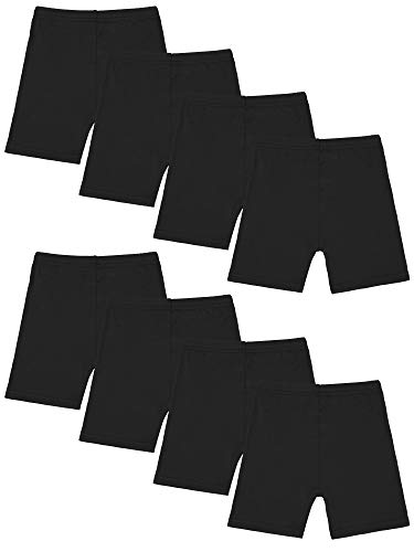 Resinta 8 Pack Black Dance Shorts Girls Bike Short Breathable and Safety 8 Color (Black, 6-7 Years)