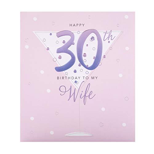 30 TH verjaardagskaart voor vrouw van de Hallmark Studio - reliëf ontwerp op getextureerd bord