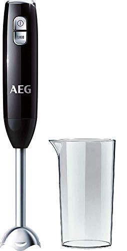 AEG STM 3200 Stabmixer (600 Watt, 2-Klingen Edelstahlmesser, 0,8 PS, 16.500 U/Min., 2 Stufen inkl. Turbo-Funktion, 0,6 l Smoothie-Becher und Edelstahl-Mixfuß spülmaschinenfest, schwarz/silber)