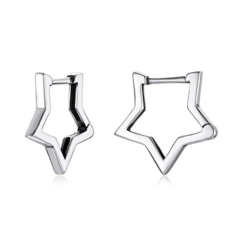 HMMJ Pendientes de aro de Estrella de Moda hipoalergénicos de Plata esterlina S925 para Mujer SCE1136