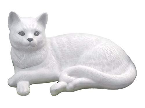 Tiefes Kunsthandwerk Steinfigur Katze liegend groß - Antik-Weiss, wetterfeste Deko-Figur für Wohnung, Haus und Garten, Grabschmuck