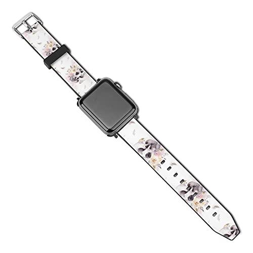 La última correa de reloj de estilo compatible con Apple Watch Band 38 mm 40 mm Correa de repuesto para iWatch Series 5/4/3/2/1, patrón de acuarela con calavera humana y rosas