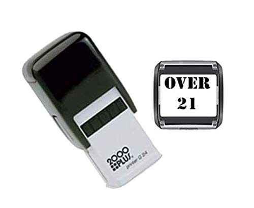 Over 21 Hand Stamp - Suitable for Festivals, Parties, Clubs, Special Events, Bars etc. (Black)