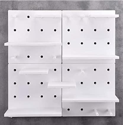 JSF Estante de Pared Flotante 4 Piezas, Panel para Decoración de Plástico con Ganchos, Organizador y Soporte para Pared de Multiusos, Tablero Perforado, Blanco