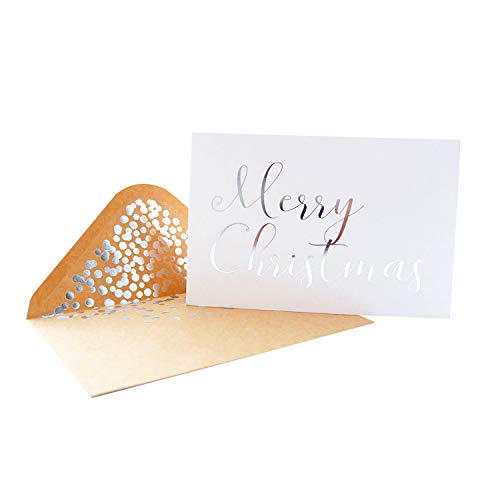 """Silver Christmas Cards - 50 Pack White Merry Christmas Greeting Cards in Matte Finish with Silver Foil Lettering - Includes 52 Silver Foil Confetti Kraft Envelopes - 4"""" x 6"""" Blank Inside"""