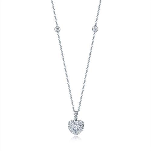 AmDxD Echte Goldserie, 18K Weißgold Y-Ketten, Herz FormHalskette für Damen, mit Anhänger Damenkette, mit Diamant, Silber-0.93ct