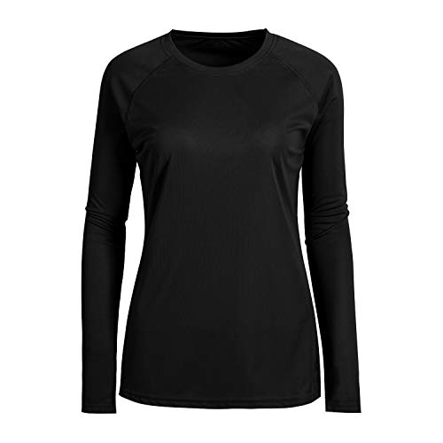 Plus Size Long Sleeve Fitted Round Neck Hunting Camping Tee Shirts for Women Black-2XL