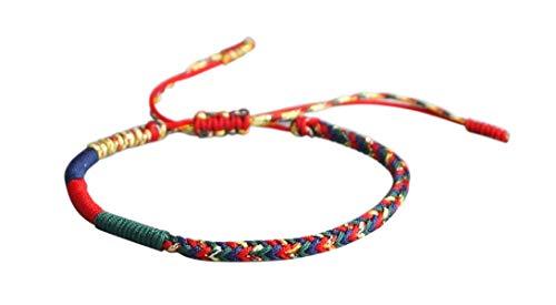 Lucky Buddhist – Braccialetto Buddista Tibetano + Ciondolo/Collana! Bracciale per donna, uomo, adolescente – Regola le dimensioni del braccialetto – Realizzato a Mano In Corda (Multicolore)