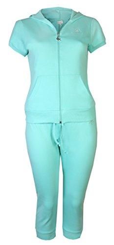 Brody & Co. Damen-Trainingsanzug, Capri-Hose, Baumwolle, kurze Ärmel, einfarbiger Anzug Gr. 38, grün
