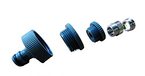 Wasserhahn-Adapter 5-fach M 22x1 Innen-, M 24x1 Außengewinde, 1 Zoll, 3/4 Zoll und 1/2 Zoll Innengewinde (IG), Gardena kompatibel - Für haushaltsübliche Wasseranschlüsse an Dusche, Waschbecken, Küchenarmatur, Garage etc.