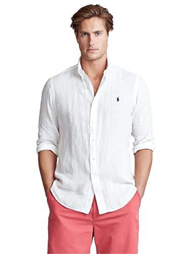 Ralph Lauren Herren Hemd Weiß Logo Marino, Weiß L