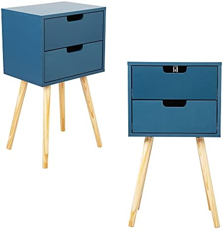 JAXPETY Set of 2 Wooden Nightstand with Solid Wood Legs, Modern End Table Sofa Table with 2 Drawers for Bedroom Living Room Office Home Furniture,Mid-Century Nightstand (Lake Blue)