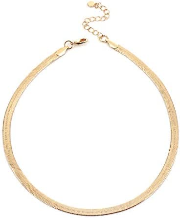 NUZON Gold Choker Necklace for Women Girls 14K Gold Plated Thick Flat Flexible Snake Chain Link product image