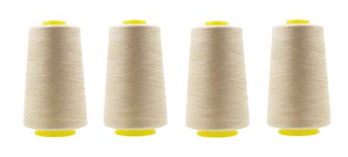 Mandala Crafts All Purpose Sewing Thread from Polyester for Serger Overlock Quilting Sewing Machine Pack of 4 40S/2 Cream
