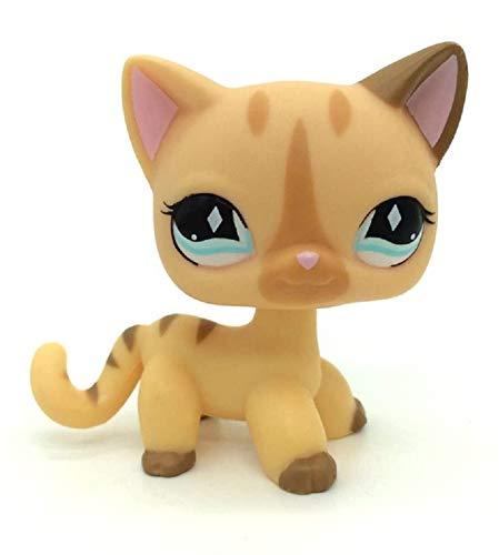 N/N Littlest Pet Shop, LPS Toy LPSs Figure Rare Short Hair Stand Cat Cream Diamond Stripe