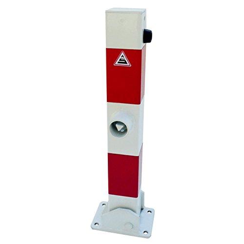 Absperrpfosten 70 x 70 mm umlegbar mit Bodenplatte 100 x 150 mm für Dübelbefestigung und Dreikantverschluss