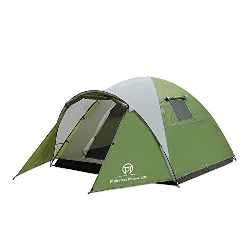 Preferred Innovation アウトドア テント 3~4人用 登山 キャンプ 前室あり 組立簡単 二層構造 通気 防雨・...