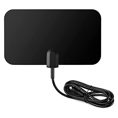 KYYKA Antena de televisión digital HDTV interior plana HD FM UHF – Alcance de 25 millas – Negro