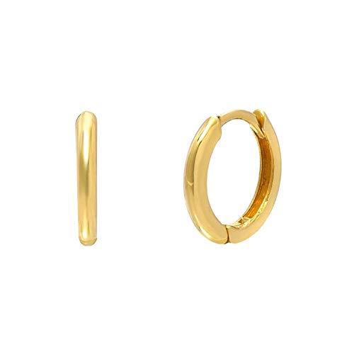 925 plata esterlina brillo aro pendientes para las mujeres Pendientes pequeño redondo círculo moda pendientes de cartílago joyería