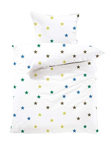 Lavea Kinderbettwäsche Set - Stella Kids 100 x 135cm + 40 x 60cm. Design: Sterne - Farbe: Bunt 100% Baumwolle. Hochwertig mit Reißverschluss. GOTS/Bio Zertifiziert.