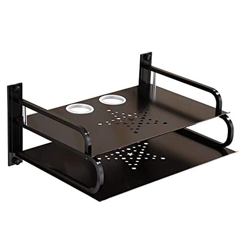 HEZHANG Rack de Alenamiento para el Hogar en el Rack de Enrutador Inalámbrico Single Y Doble Capa Caja de Alenamiento Decorativo Creativo,Negro,33 * 25 * 15 cm