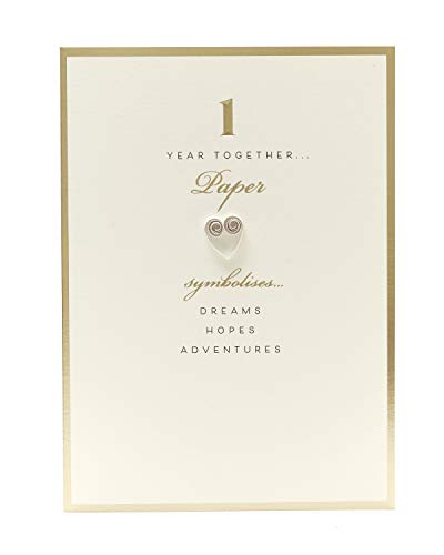 1st Anniversary Card - Paper Wedding Anniversary - Classic Gold and White Design