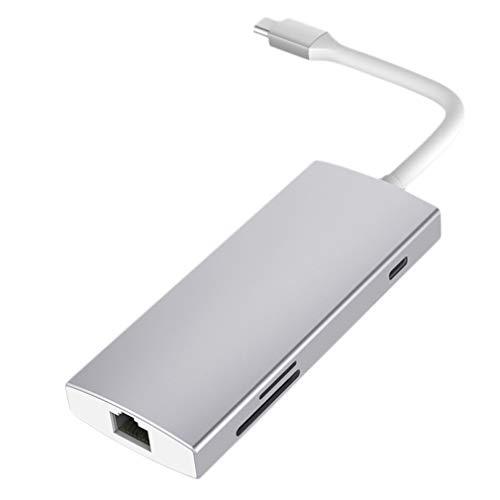 Binghotfire Siete Puertos USB Tipo Hub Puerto SD TF Lector de Tarjetas Adaptador Convertidor VT105 Gris