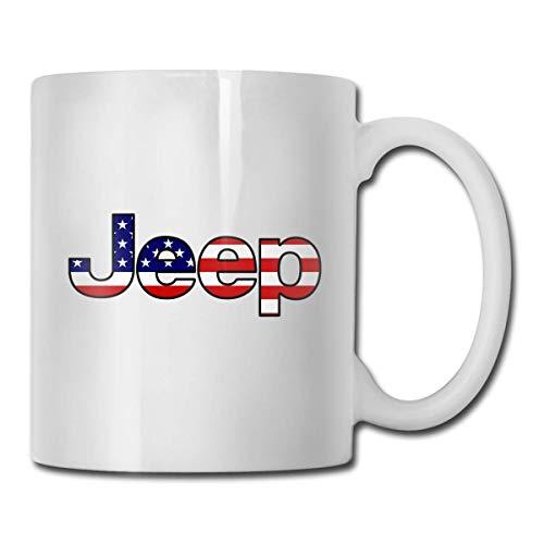 N\A Jeep - Amerikanische Flagge Kaffeetasse, Lustige Tasse für Tee Kaffee Bester Urlaub für Ihre Familie, Fre&e, Firmenkollegen Weiß,