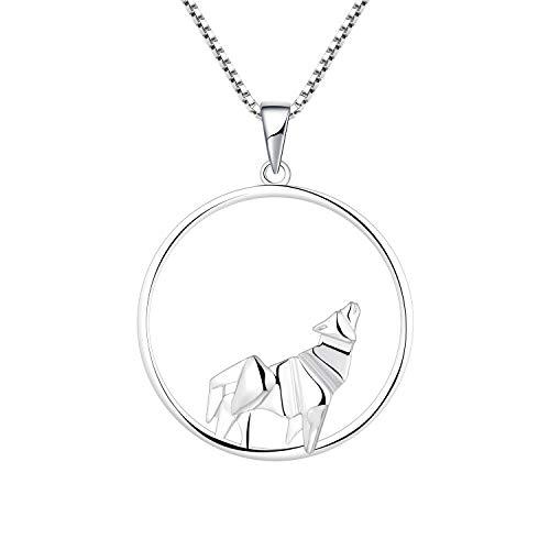 YL Kette Wolf Damen Halskette 925 Sterling Silber Kreis Origami Anhänger Damen Schmuck 45+3CM Kettenlänge.