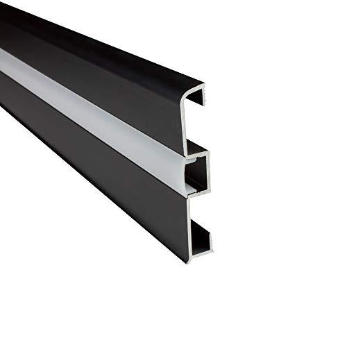 B-Ware - LED Aluprofil C02 Alu Sockelleiste + Abdeckung Fußbodenleiste Schiene für LED-Streifen-Strip Schwarz 2m milky