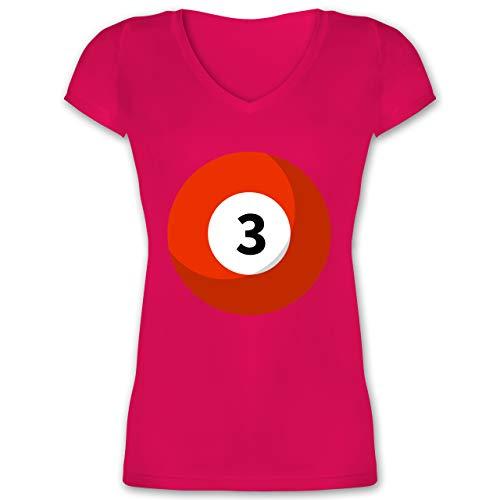 Karneval & Fasching - Billardkugel 3 Kostüm - XS - Fuchsia - billardkugel Shirt - XO1525 - Damen T-Shirt mit V-Ausschnitt