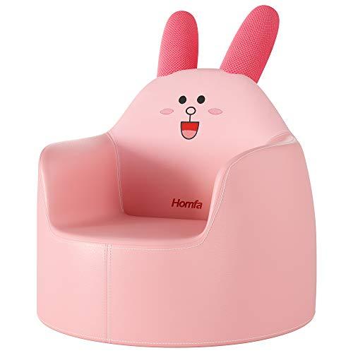 Homfa Kindersessel Babysessel Babysofa Kindersofa Kinder Sessel Sofa Minisessel Minisofa Kinderzimmer Sitz Kindermöbel Kunstleder Hase rosa 49 x 49 x 54.5 cm
