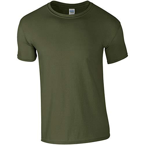 Gildan - Suave básica Camiseta de Manga Corta para Hombre - 100% algodón Gordo (Pequeña (S)) (Verde Militar)