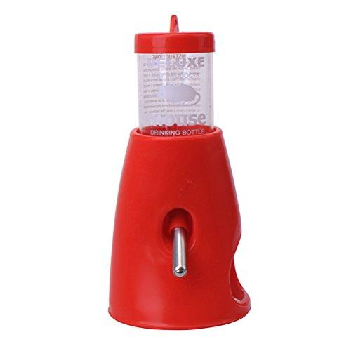 UEETEK 小さな動物の隠れペットの隠れ家プラスチック製のベースハットと1水ボトルで2を飲むペットのひどいドワーフハムスター(赤)の生息場所