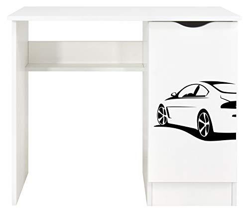 Leomark Białe biurko - ROMA, funkcjonalne biurko z szafką na książki i zeszyty, mebel do pokoju dla dzieci i młodzieży, idealne do nauki i pod laptopa, nadruk UV - Sportowe auto, wymiary: 90 x 50 x 77 (wys.) cm