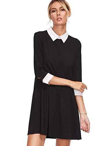 Floerns Women's Peter Pan Collar Short Sleeve Short Tunic Dress A Black L