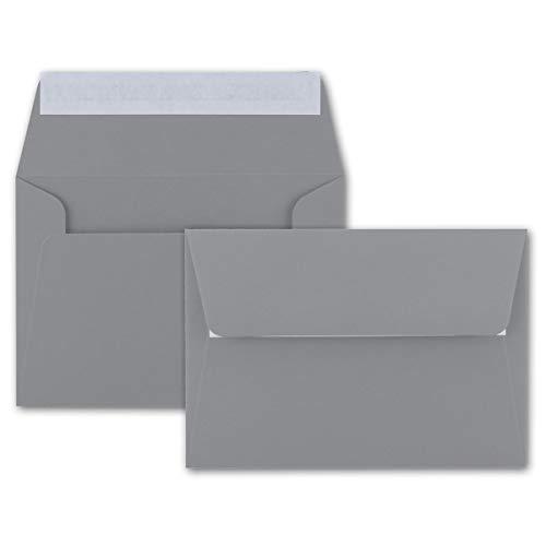 50x Brief-Umschläge B6 - Dunkelgrau - 12,5 x 17,5 cm - Haftklebung 120 g/m² - breite edle Verschluss-Lasche - hochwertige Einladungs-Umschläge