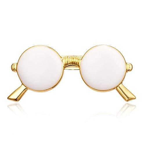 PYBH Gafas Simples Gafas de Sol Broche Pequeña Tijera Avión Insignia de aleación Mujeres Traje Traje Vestido Camisa Cuello Broche Pin Banquete Joyería (Color : White Sunglass)